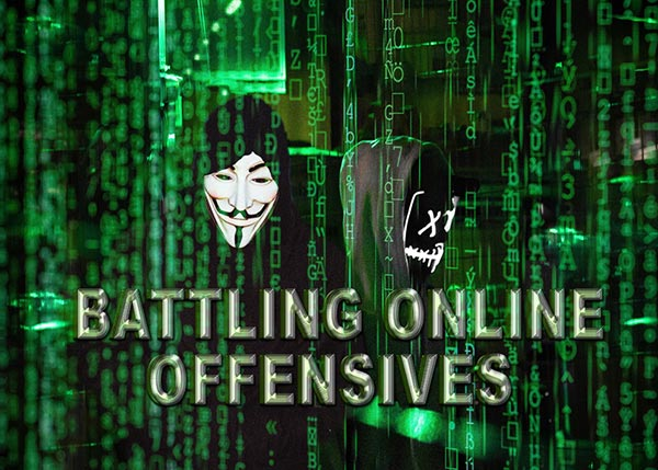This picture with the text 'Battling Online Offensives' shows shadowy faceless hackers lurking amid flowing data streams
