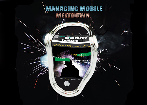 This picture is a melted, disfigured smartphone with the text 'Managing Mobile Meltdown' as being an unresponsive website