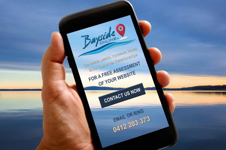 Bayside Online mobile screen display offering a free assessment of your website when you CONTACT US