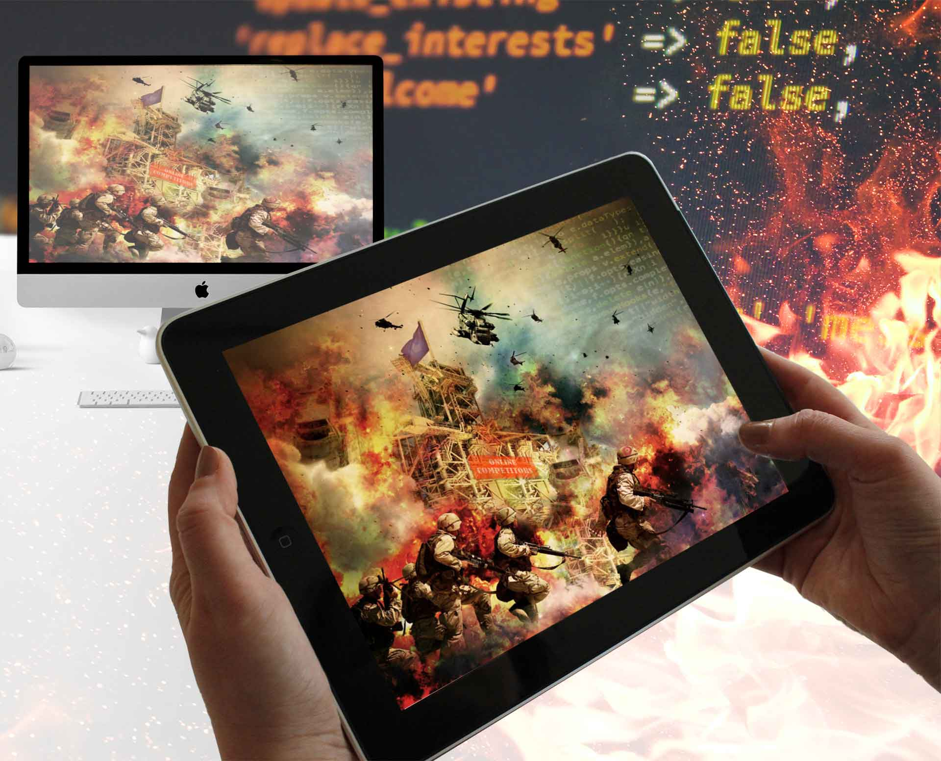 A full-fledged military attack across multiple device screen formats represents the online battle against competitors