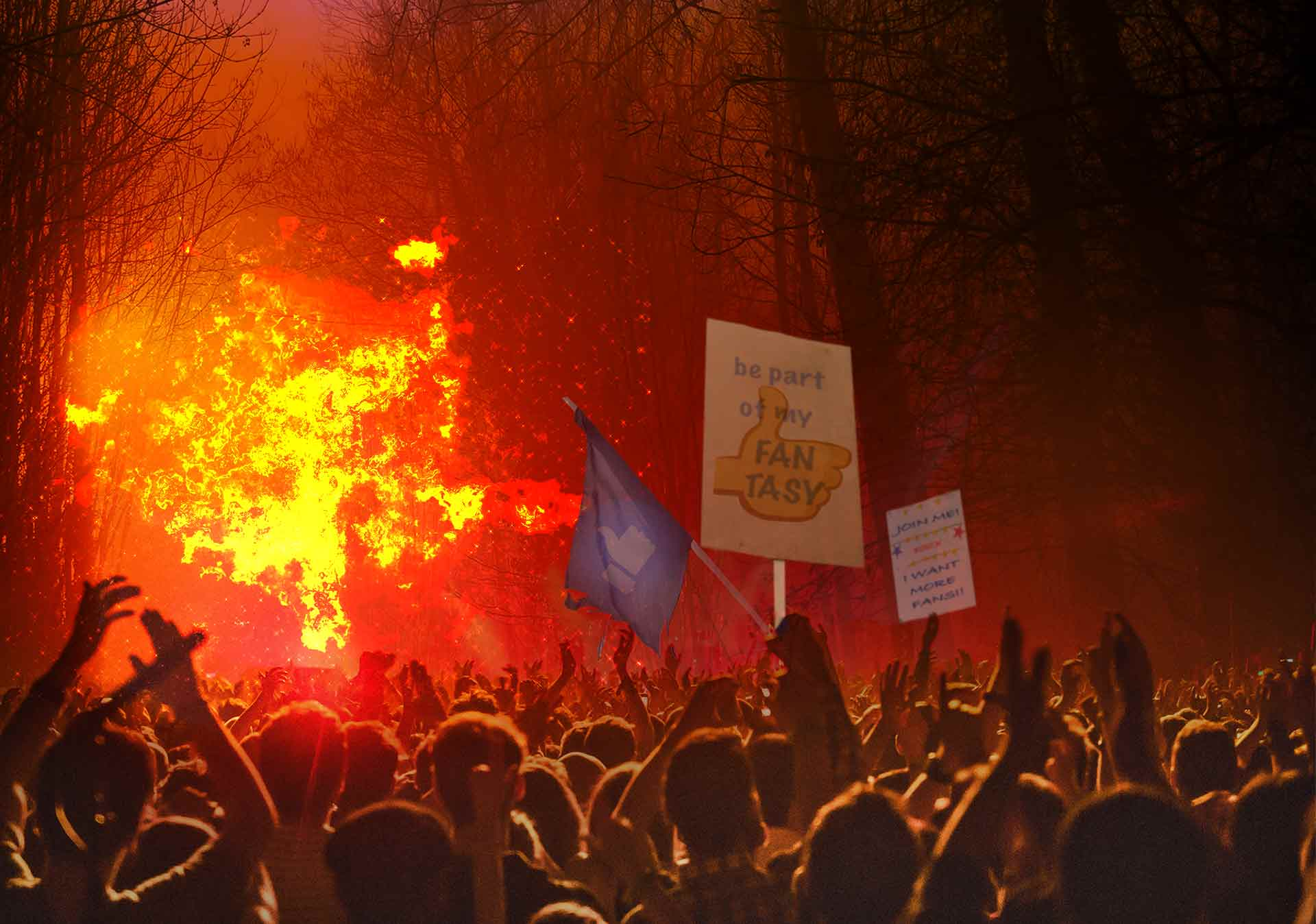 A massive crowd of placard-waving social media fans cheering amidst a blazing forest fire they seem to have started